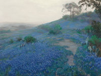 JULIAN ONDERDONK (American, 1882-1922) Blue Bonnet Field, Early Morning, San Antonio Texas, 1914 Oil