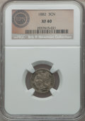 Three Cent Nickels, 1882 3CN XF40 NGC. Medium-gray with a strong peach overtone and a few deep spots on the obverse. This XF40 example has fain...