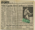 Baseball Collectibles:Tickets, 1983 Ticket Stub from Steve Carlton's 300th Win with NewspaperArticle. When then-Philadelphia Phillie Steve Carlton reache...