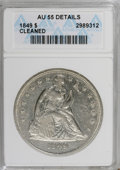 Seated Dollars: , 1849 $1 --Cleaned--ANACS. AU55 Details. NGC Census: (30/109). PCGSPopulation (36/81). Mintage: 62,600. Numismedia Wsl. Pric...