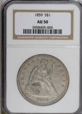 Seated Dollars: , 1859 $1 AU50 NGC. NGC Census: (5/55). PCGS Population (14/55).Mintage: 255,700. Numismedia Wsl. Price for NGC/PCGS coin in...