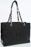 Luxury Accessories:Bags, Chanel Black Quilted Patent Leather Grand Shopper Tote Bag withSilver Hardware. ...