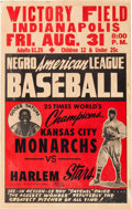 Baseball Collectibles:Others, 1940's Satchel Paige Negro League Kansas City Monarchs vs. Harlem Stars Broadside With Goose Tatum. ...