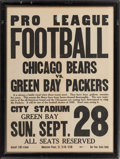 Football Collectibles:Others, 1930 Chicago Bears Vs. Green Bay Packers Broadside....