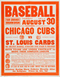 Baseball Collectibles:Others, 1934 Chicago Cubs vs. St. Louis Cardinals Poster at OshkoshFairgrounds. ...