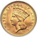 Three Dollar Gold Pieces, 1856 $3 MS64 PCGS....