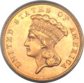 Three Dollar Gold Pieces, 1859 $3 MS63 PCGS....