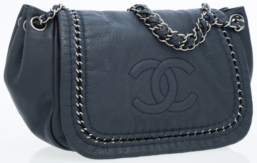 c79a44a84f6a Chanel Navy Leather Luxe Ligne Accordion Flap Bag with CC