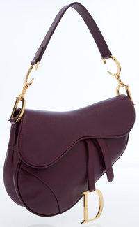 Christian Dior Plum Leather Saddle Bag