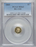 California Fractional Gold, 1860 $1 Liberty Octagonal 1 Dollar, BG-1102, R.4, MS63 PCGS....