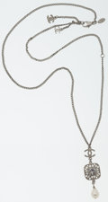 Luxury Accessories:Accessories, Chanel Silver CC Necklace with Large Crystal & Pearl Drop. ...