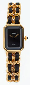 Luxury Accessories:Accessories, Chanel Premiere Ladies Watch with Classic Gold Chain & Leather Strap Size XL. ...
