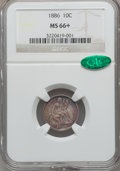 Seated Dimes, 1886 10C MS66+ NGC. CAC....