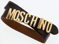 Luxury Accessories:Accessories, Moschino Brown Polished Leather Belt with Gold MOSCHINO Hardware....