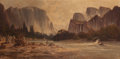 American:Western, MANUEL VALENCIA (American , 1856-1935). Full View of YosemiteValley. Oil on canvas. 30 x 60 inches (76.2 x 152.4 cm). S...
