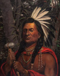 Paintings, HENRY HERMAN CROSS (American, 1837-1918). Rain in the Face, Sioux Chief, 1892. Oil on canvas. 30 x 24 inches (76.2 x 61....