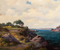 ROBERT WILLIAM WOOD (American, 1889-1979) Carmel Seaside Oil on canvas 25 x 30 inches (63.5 x 76