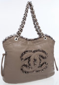 Luxury Accessories:Bags, Chanel Taupe Lambskin Leather & Tweed CC Tote Bag. ...