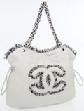 Luxury Accessories:Bags, Chanel Pale Gray Lambskin Leather & Tweed CC Tote Bag. ...