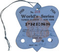 Baseball Collectibles:Tickets, 1926 World Series (New York Yankees) Press Pass, PSA Authentic....