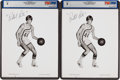 Basketball Collectibles:Photos, Early 1970's Pete Maravich Signed Photographs, PSA/DNA NM-MT 8 Lotof 2....
