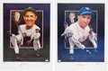 Autographs:Others, Circa 1990 Baseball Hall of Famers Signed Lithographs Lot of 5....