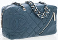 Luxury Accessories:Bags, Chanel Midnight Blue Quilted Distressed Leather Camera Bag withSilver Hardware. ...