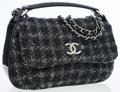 Luxury Accessories:Bags, Chanel Black & Gray Quilted Tweed & Black Patent LeatherShoulder Bag with Textured CC Detail. ...