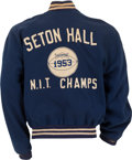 Basketball Collectibles:Uniforms, 1950's Game Worn Seton Hall Uniform, Letterman's Jacket & NITChampionship Watch Attributed to Ron Nathanic. ...