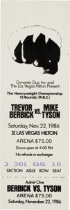 Boxing Collectibles:Memorabilia, 1986 Mike Tyson vs. Trevor Berbick Full Ticket--Tyson Becomes Heavyweight Champion....