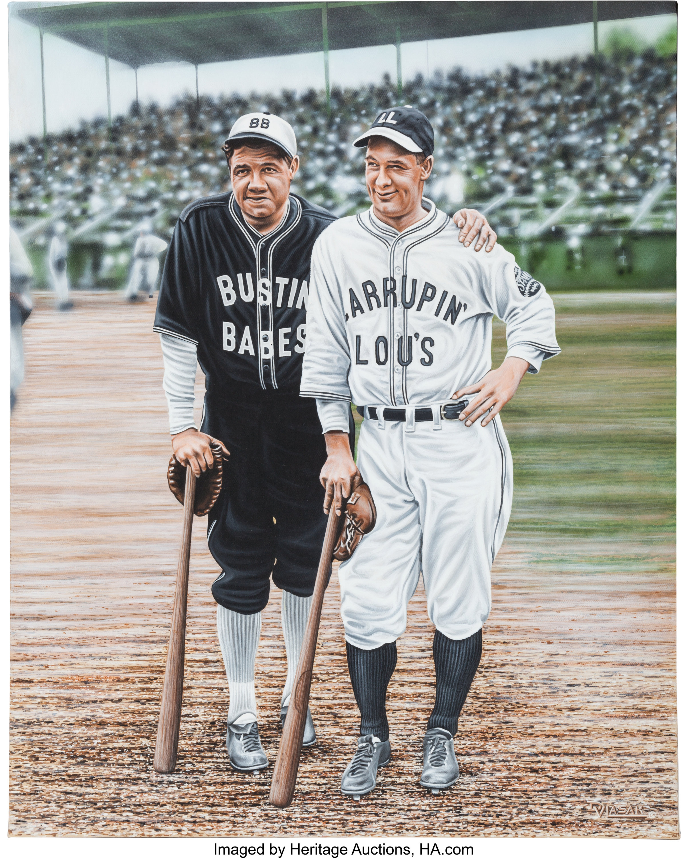 free shipping 3aaa0 71079 2005 Babe Ruth & Lou Gehrig Original Artwork by Darryl | Lot ...