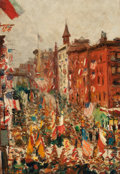 Fine Art - Painting, American:Modern  (1900 1949)  , AMERICAN SCHOOL (20th Century). Parade on York Avenue, May 25,1918. Oil on canvas. 16 x 11-1/4 inches (40.6 x 28.6 cm)...
