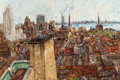 Fine Art - Painting, American, SAMUEL ROTHBORT (Russian/American, 1882-1971). Alphabet City,Manhattan, New York. Oil on canvas. 24 x 36 inches (61.0 x...