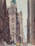 Fine Art - Painting, American, TORE ASPLUND (American, 1903-1978). New York Street SceneDepicting the Manhattan Life Insurance Building with TrinityChu...