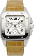 Timepieces:Wristwatch, Cartier Ref. 2740 Santos 100 Large Steel Chronograph. ...