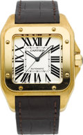 Timepieces:Wristwatch, Cartier Ref. 2657 Large Gold Santos 100 Automatic. ...