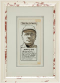 "Baseball Collectibles:Others, 1970 Lou Gehrig ""This Day In Sports"" Original Artwork by LennyHollreiser...."