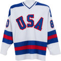 Hockey Collectibles:Uniforms, 1980 Miracle on Ice Team Signed Jersey With Herb Brooks. ...