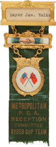 Golf Collectibles:Medals/Jewelry, 1927 Ryder Cup PGA Reception Committee Badge - Inaugural Match InHistoric Golf Series. ...