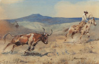 EDWARD BOREIN (American, 1873-1945) Ropin' Steer Watercolor on paper 7-1/2 x 11-1/2 inches (19.1