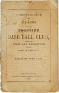 Baseball Collectibles:Others, 1858 Frontier Baseball Club Constitution & By-Laws Booklet....