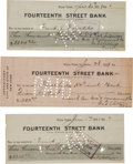 Autographs:Checks, 1908-09 George Stallings Signed Checks Lot of 3....