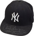 Baseball Collectibles:Hats, 2004 Alex Rodriguez Game Worn Signed New York Yankees Playoff Cap....