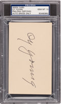 Autographs:Index Cards, Circa 1950 Cy Young Signed Index Card, PSA/DNA Gem Mint 10....