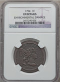 Large Cents, 1794 1C Head of 1794 -- Environmental Damage -- NGC Details. XF.S-22, B-6, R.1....