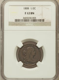 1808 1/2 C Fine 12 NGC. NGC Census: (5/74). PCGS Population (7/124). Mintage: 400,000. Numismedia Wsl. Price for problem...