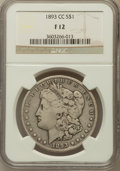 1893-CC $1 Fine 12 NGC. NGC Census: (138/2815). PCGS Population (219/5064). Mintage: 677,000. Numismedia Wsl. Price for...