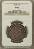 Bust Half Dollars: , 1823 50C XF40 NGC. NGC Census: (48/613). PCGS Population (91/632).Mintage: 1,694,200. Numismedia Wsl. Price for problem fr...