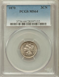 Three Cent Nickels: , 1870 3CN MS64 PCGS. PCGS Population (108/67). NGC Census: (132/62).Mintage: 1,335,000. Numismedia Wsl. Price for problem f...