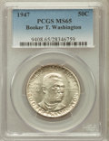 Commemorative Silver: , 1947 50C Booker T. Washington MS65 PCGS. PCGS Population (673/190).NGC Census: (428/139). Mintage: 100,017. Numismedia Wsl...